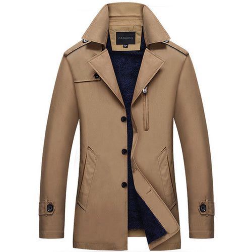 Thicken Lapel Polyester Plain Pocket Men's Trench Coat