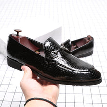 Black PU Rubber Buckle Slip-On Men's Formal Shoes