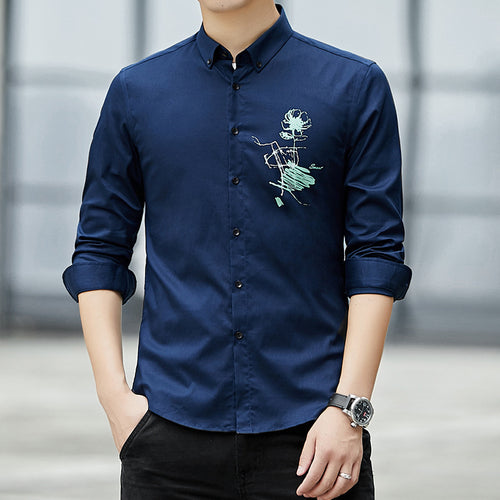 Pure Cotton Trend Embroidery Men's Shirt