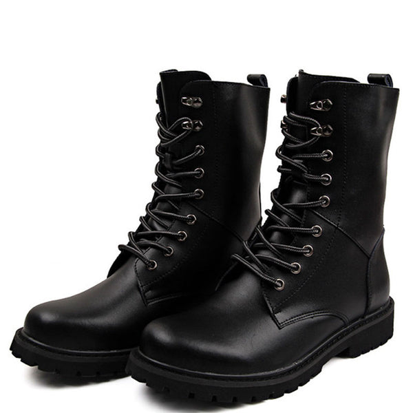 Breathable Genuine Leather Shoes High Top Men's Boots