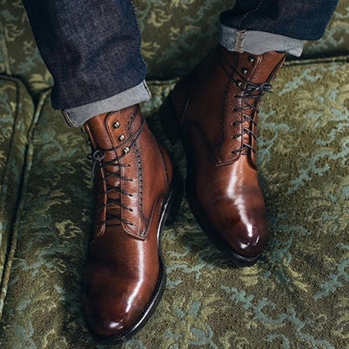 Warm Ankle Mart Anti-Slip Men's Leather Boots