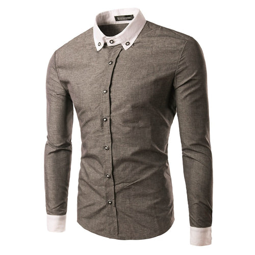 Long Sleeve Splicing Pure Color Men's Shirt