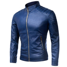 PU Slim Zippered Stand Collar Plain Men's Leather Coat