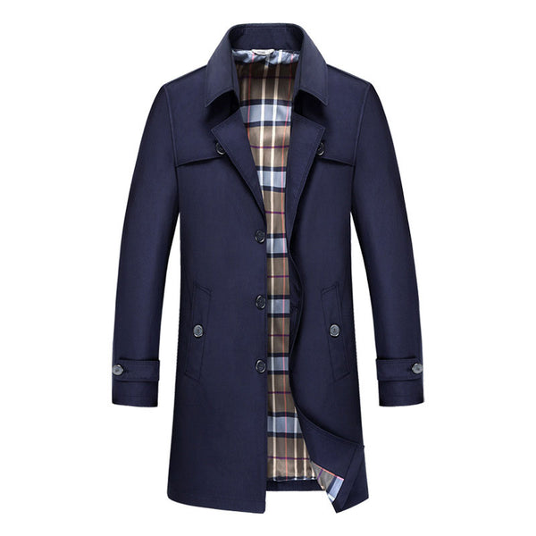 Polyester Lapel Button Plaid Casual Men's Trench Coat