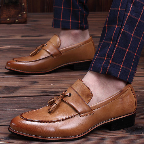 Leather Low Heel Fan Men's Casual Shoes
