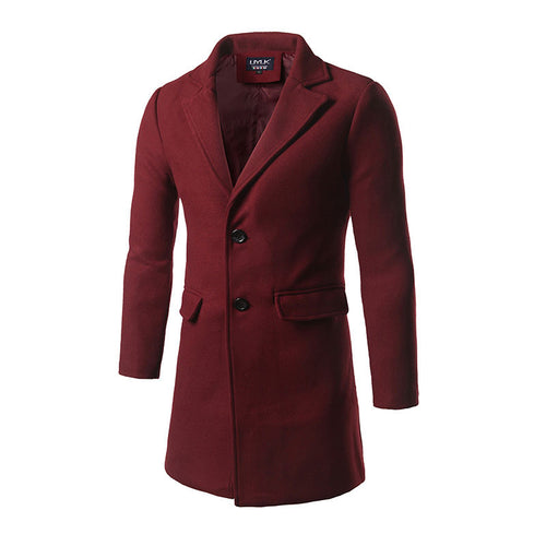 Plain Casual Long Sleeve Lapel Pocket Men's Trench Coat