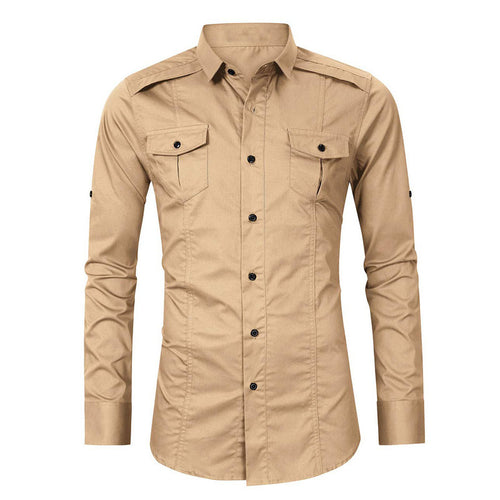Large Leisure Pockets Solid Color Men's Shirts