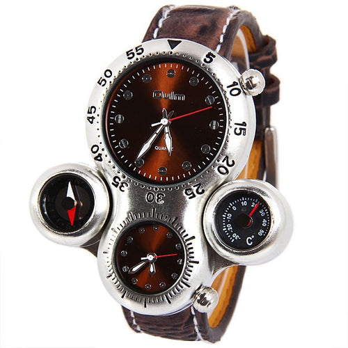 Military with Dual Movement Compass and Thermometer Function Watch