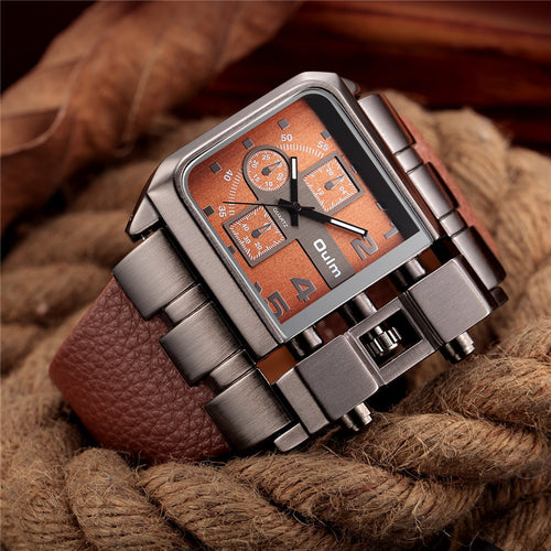 Brand Original Unique Design Square Big Dial Leather Strap Quartz Watch