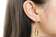 Natural Gemstone Citrine Gold Plated Drop Earrings