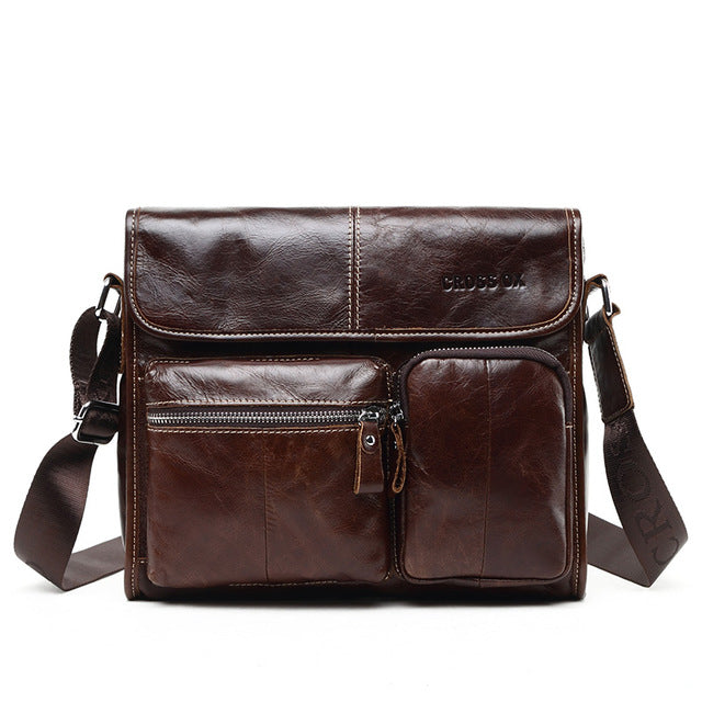 2018 Genuine Leather Vintage Style Men's Messenger Bag