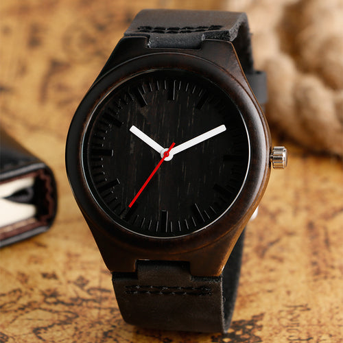 Wooden Quartz Casual Leather Strap Watch