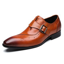 Genuine Leather Single Buckle Mens Brogue Shoes