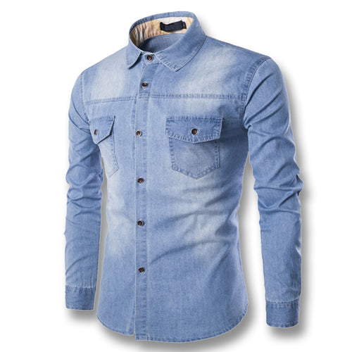 2018 Men's Cotton Light Denim Shirt