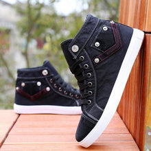Fashion High Top Men Casual Breathable Denim Shoes