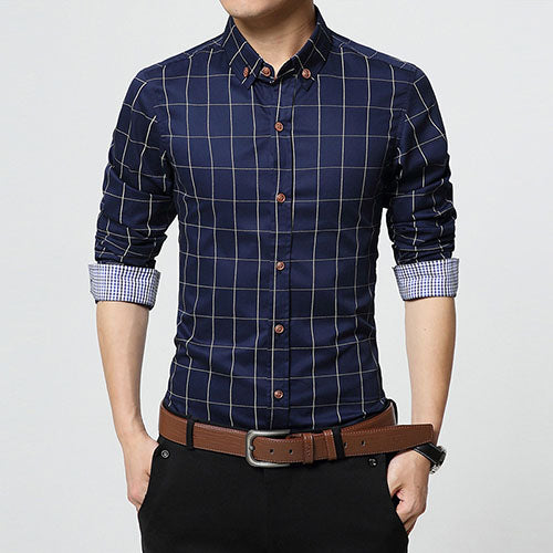 Fashion Men Plaid Cotton Casual Slim Fit Shirt