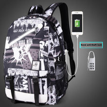Unisex Luminous Anime Cartoon USB Charging Backpack