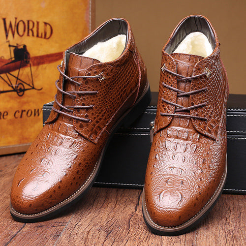 Luxury Alligator Men's Warm Leather Boots