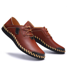 Men Genuine Leather Loafers Lace-Up Shoes