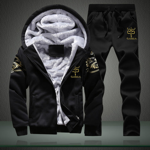 Winter Warm Men's Leisure Hooded Tracksuits Set