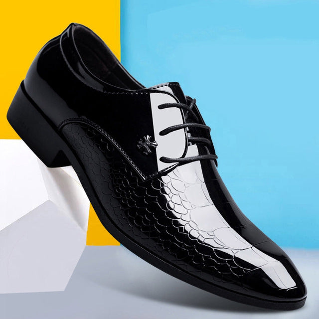 2018 New Men's Crocodile Pattern Dress Shoes