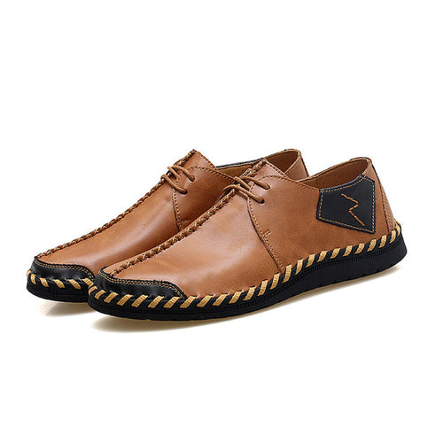 Men's Genuine Leather Lace-Up Driving Boat Shoes