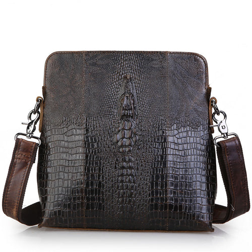 Men's Alligator Pattern Coffee Genuine Leather  Bags