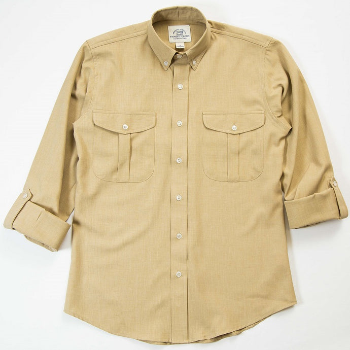 Primestitch Clothing & Apparel, Men's Khaki Vented Fishing & Outdoor Shirt