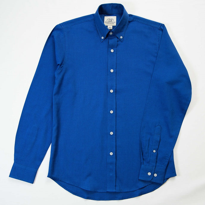 Primestitch Clothing & Apparel, Blue Woven Pique Men's Button Down Shirt - Front