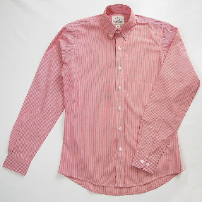 Primestitch Clothing & Apparel, Red & White Stripe Men's Button Down Shirt - Front
