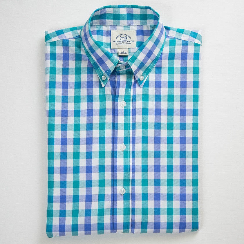 Primestitch Clothing & Apparel, Men's Teal & Lilac Gingham Short Sleeve Button Shirt