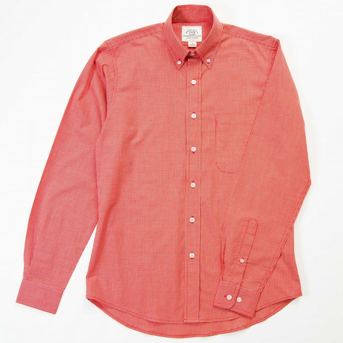 Primestitch Clothing & Apparel, Red Check Men's Button Down Shirt - Front