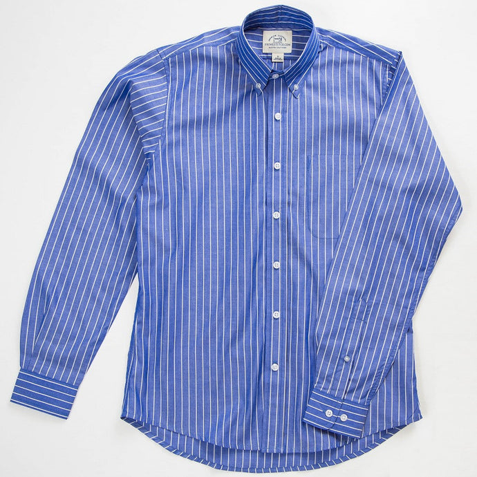 Primestitch Clothing & Apparel, Royal Blue Stripe Men's Button Down Shirt - Front