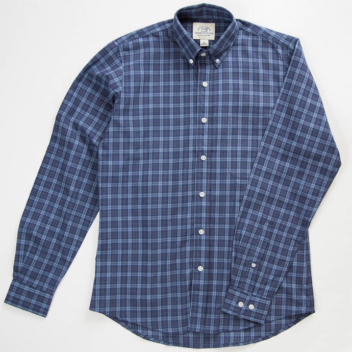 Primestitch Clothing & Apparel, Navy Tartan Men's Button Down Shirt - Front