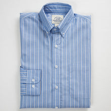 Primestitch Clothing & Apparel, Blue Stripe Men's Button Down Shirt - Folded