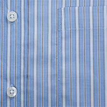 Primestitch Clothing & Apparel, Blue Stripe Men's Button Down Shirt - Fabric Detail
