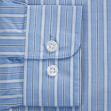 Primestitch Clothing & Apparel, Blue Stripe Men's Button Down Shirt - Sleeve Cuff
