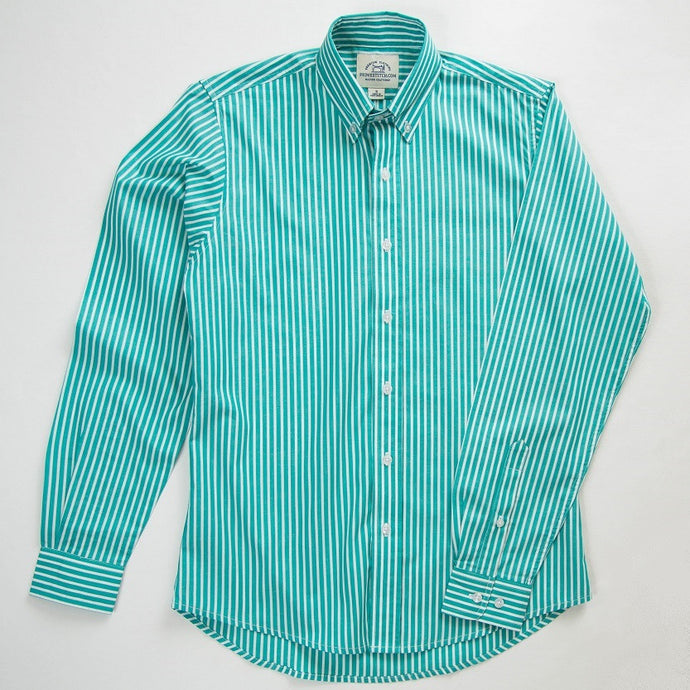 Primestitch Clothing & Apparel, Teal Stripe Men's Button Down Shirt - Front