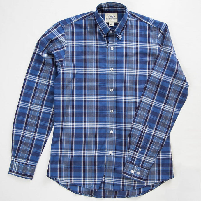 Primestitch Clothing & Apparel, Navy Plaid Men's Button Down Shirt - Front