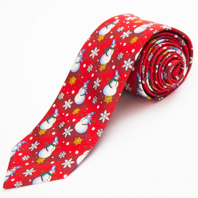 PRIMEtime 'Frosty' Men's Red Snowman Themed Silk Necktie