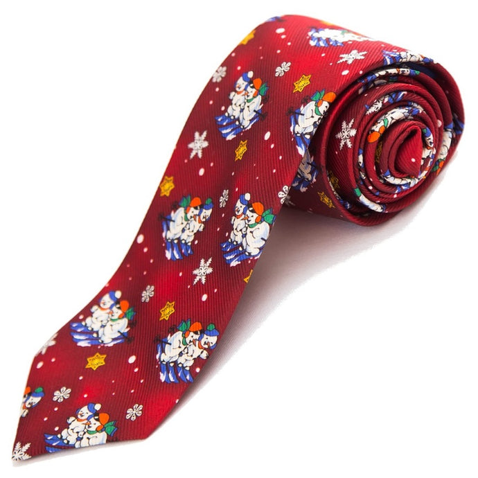 PRIMEtime 'Snow Buddies' Men's Red Winter Themed Silk Necktie