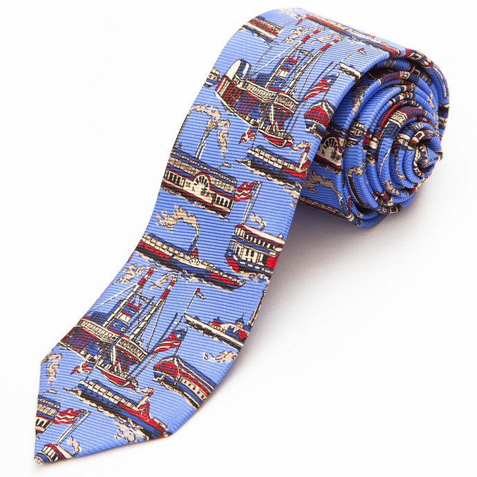 PRIMEtime 'Riverboat' Men's Blue Themed Silk Necktie