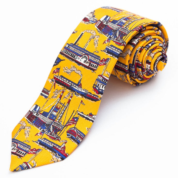 PRIMEtime 'Riverboat' Men's Yellow Themed Silk Necktie