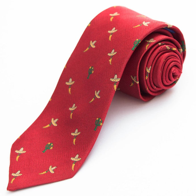 PRIMEtime 'Tex Mex, Habanero' Men's Red Themed Silk Necktie