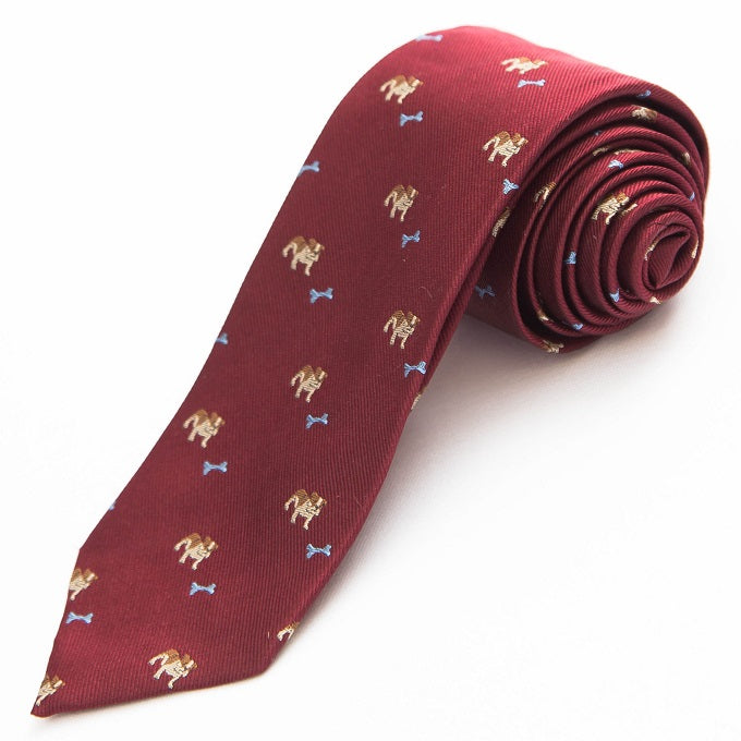 PRIMEtime 'Bad to the Bone' Men's Burgundy Themed Silk Necktie