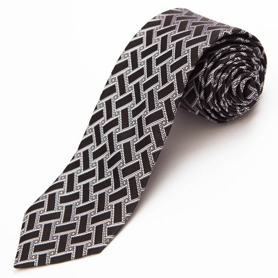 PRIMEtime Onyx Basketweave Men's Black Silk Necktie