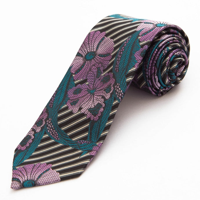 PRIMEtime Blooming Stripes Men's Black Silk Necktie