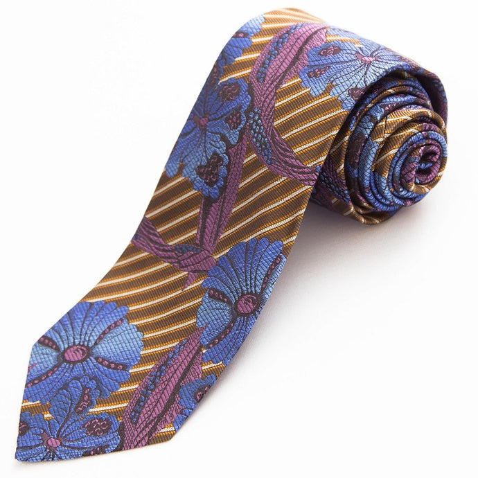 PRIMEtime Blooming Stripes Men's Bronze Silk Necktie