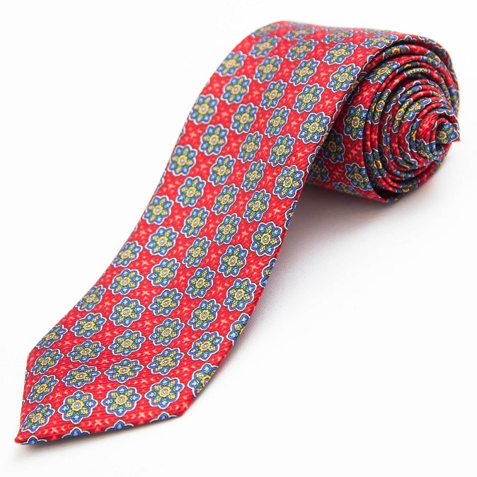 PRIMEtime Medallion Burst Men's Red Silk Necktie