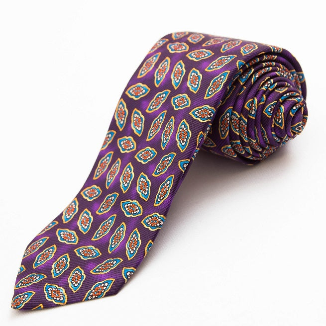 PRIMEtime Falling Leaves Men's Purple Silk Necktie